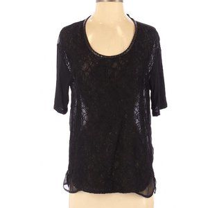 HEATHER BY BORDEAUX Black Lace Sheer Top